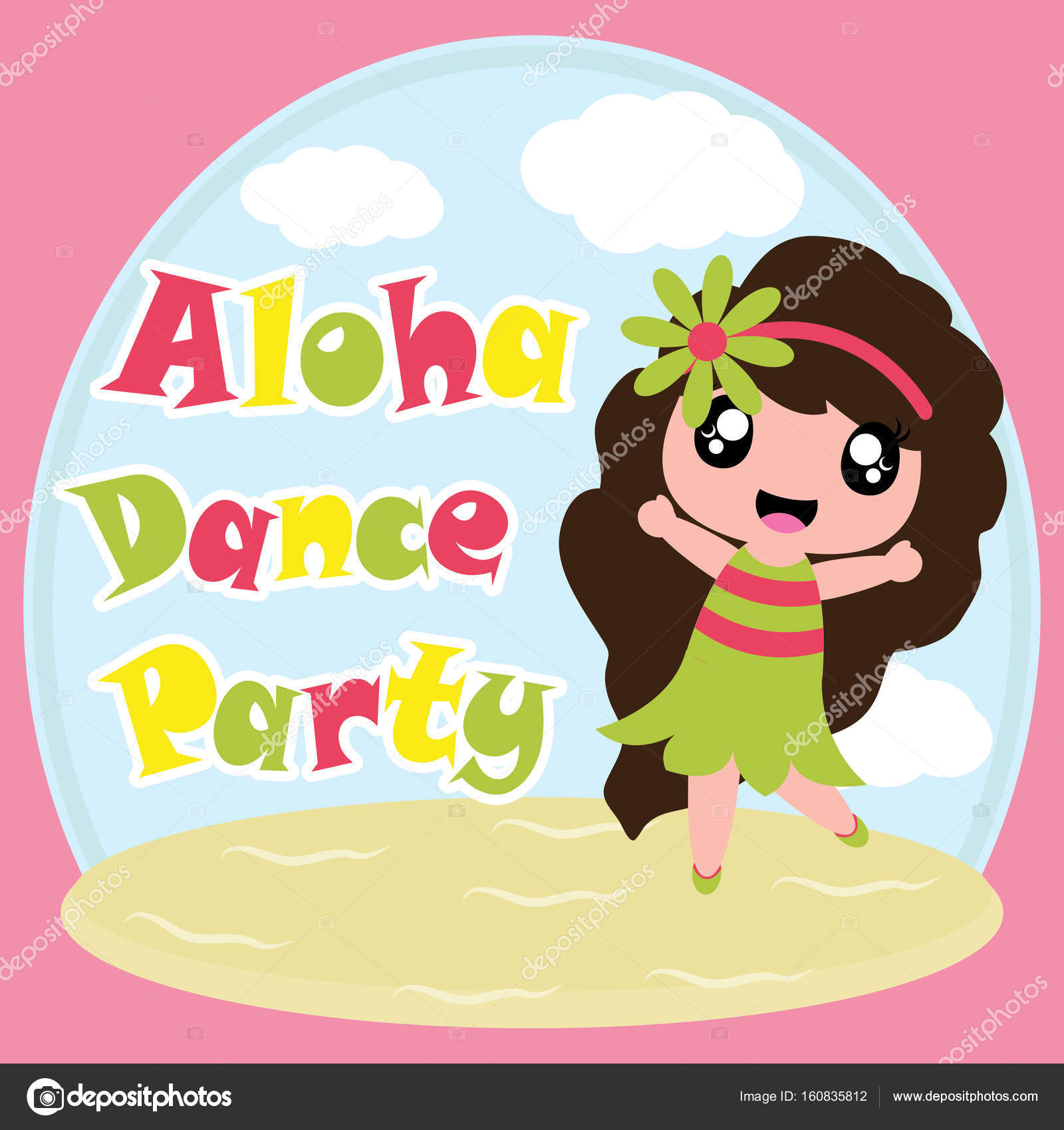 Cute Girl Wallpaper Cartoon Cute Girl Is Happy In Aloha Dance Party Vector Cartoon On Beach Background Birthday Postcard Wallpaper And Greeting Card Stock Vector C Mommy05 160835812