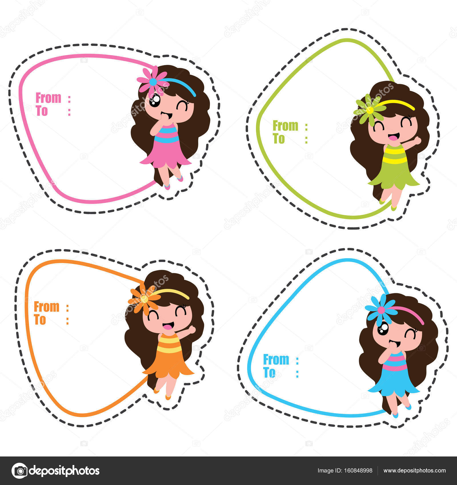 Birthday gift tags with cute hawaiian girls on colorful frames ...