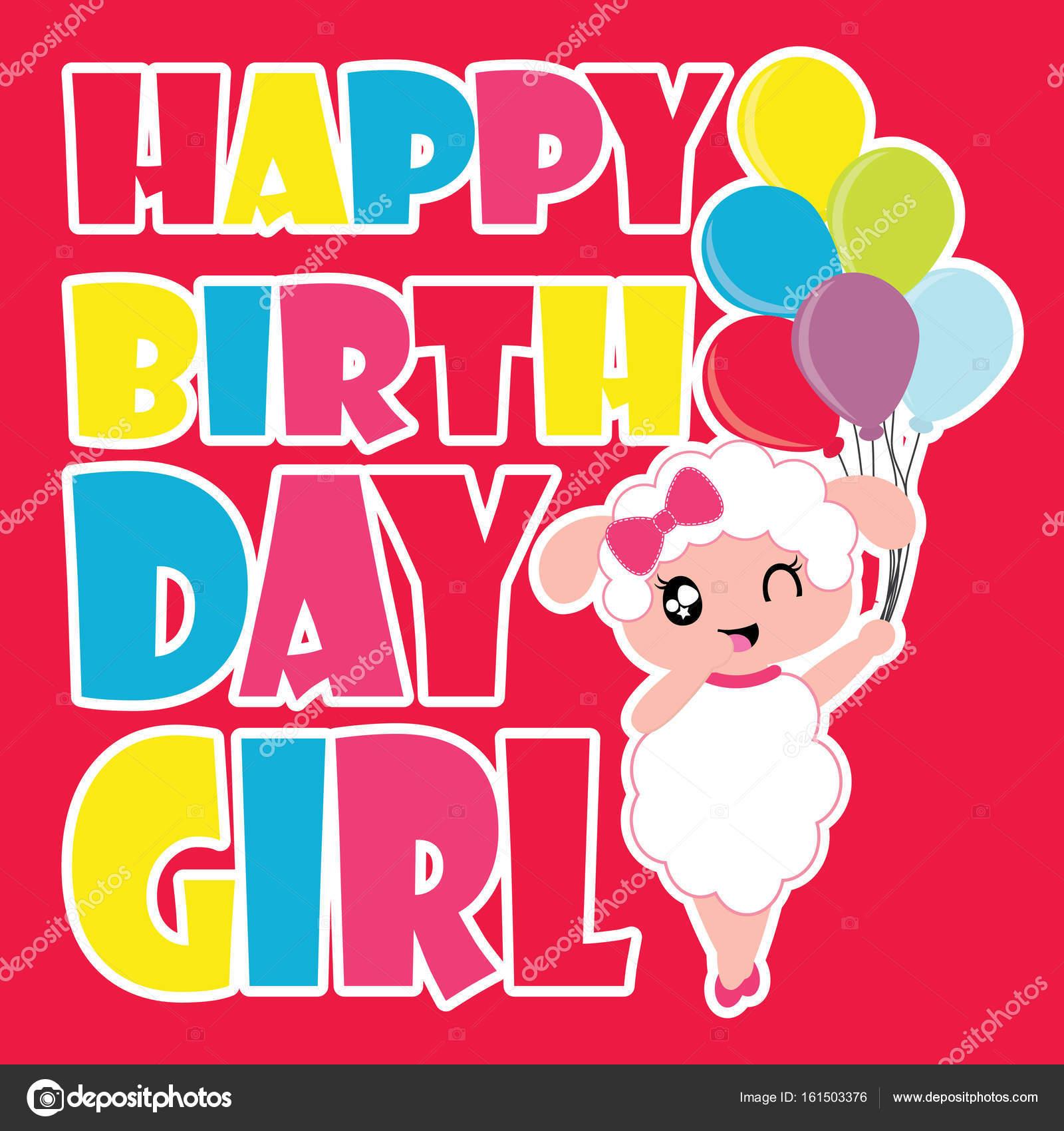 verjaardagskaart meisje Schattige schapen meisje brengt kleurrijke ballonnen cartoon  verjaardagskaart meisje
