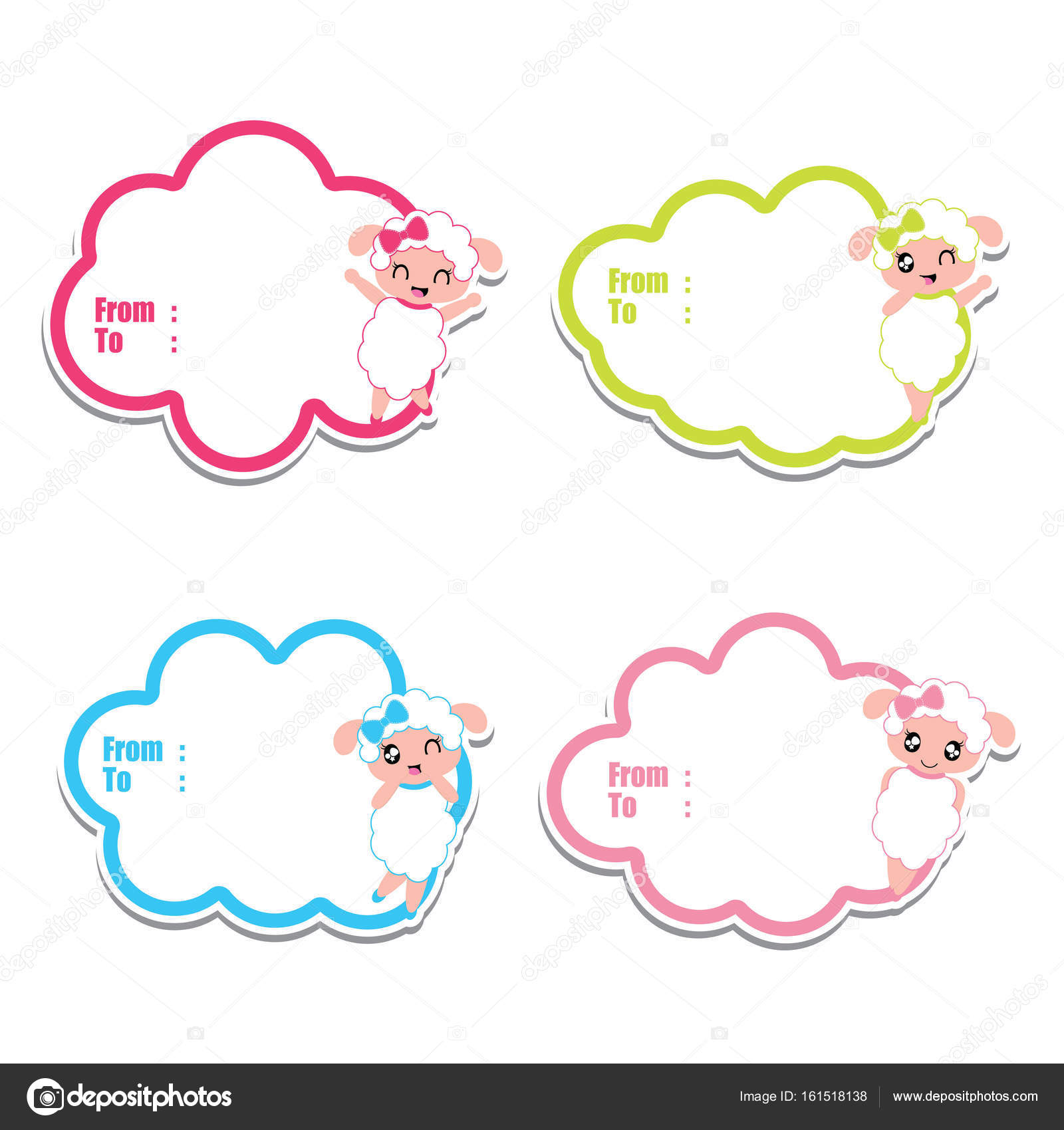 Birthday gift tags with cute sheep girls on colorful frames vector ...
