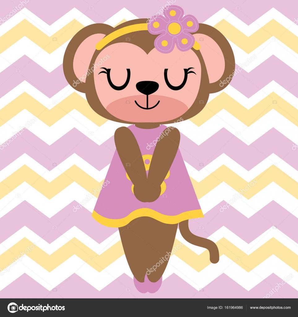 かわいい猿少女シェブロン背景ベクトル漫画イラスト子供 T シャツの