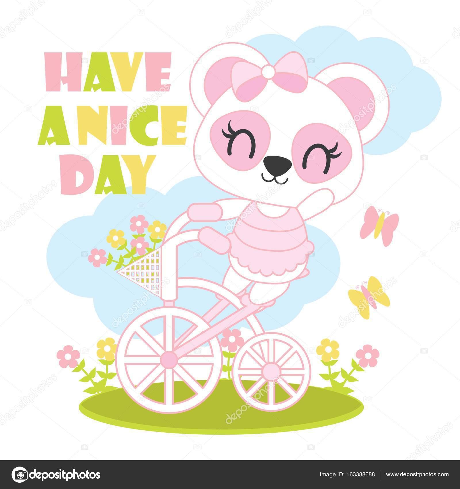 かわいい赤ちゃんパンダの赤ちゃんシャワー カード デザインの自転車