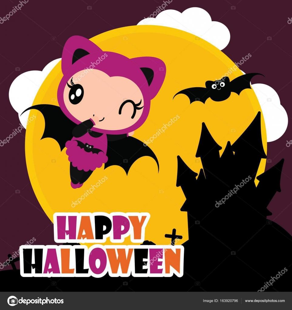 Cute Bat Girl Fly With Black Bat Vector Cartoon Illustration For