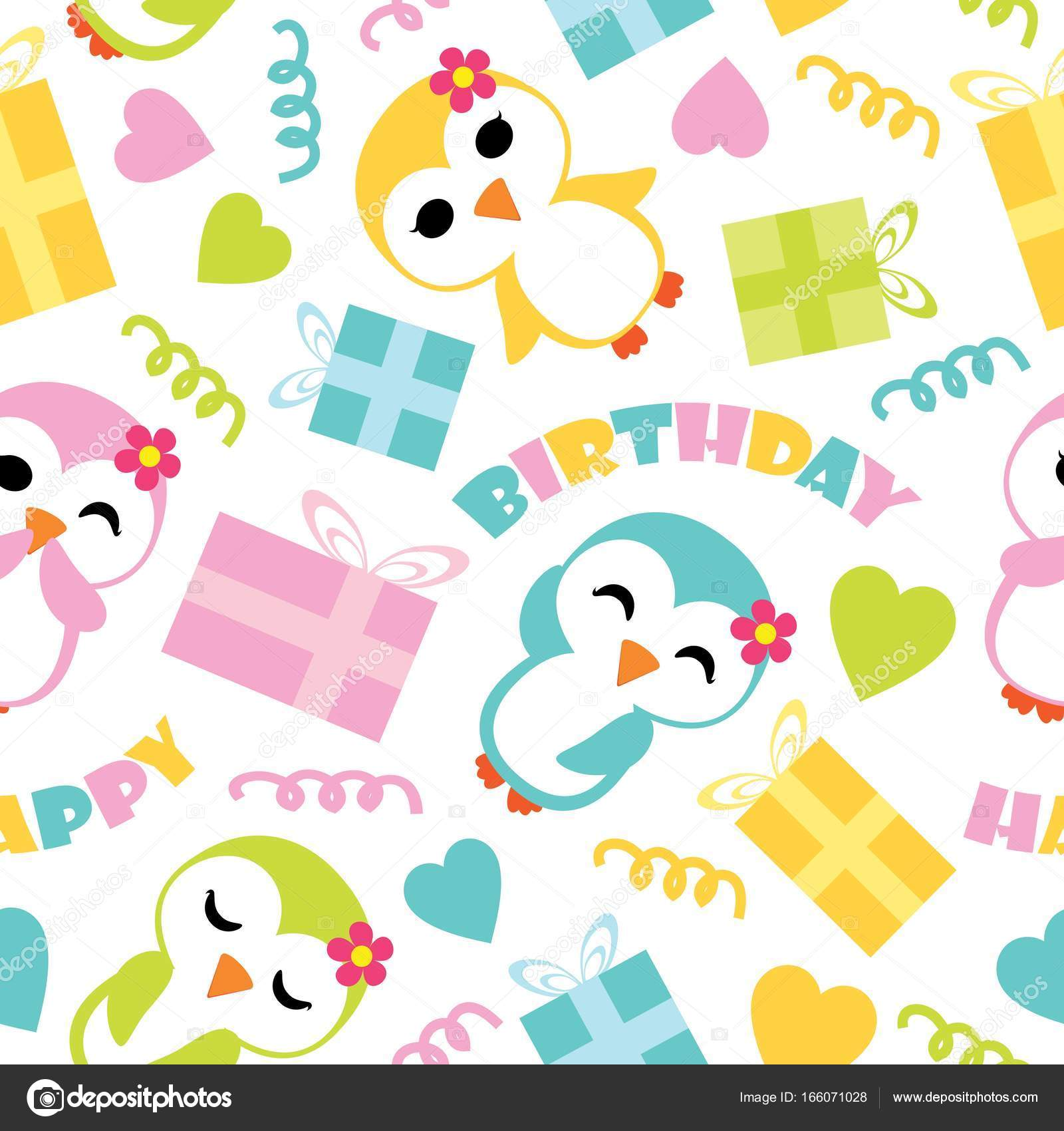 seamless pattern of cute penguin girls and birthday gift boxes vector cartoon illustration for birthday wrapping paper fabric clothes and wallpaper