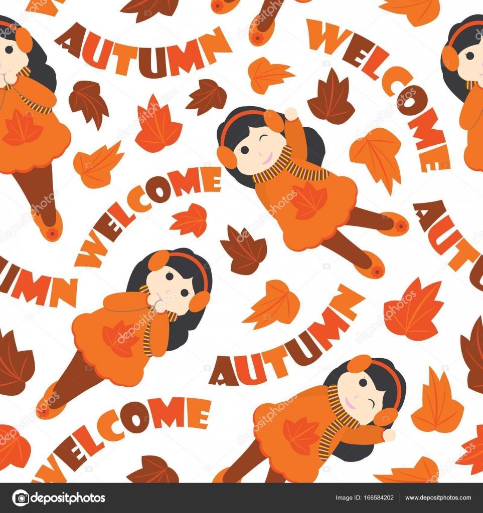 かわいい女の子の包装紙秋シーズン用マップル葉ベクトル漫画イラストの