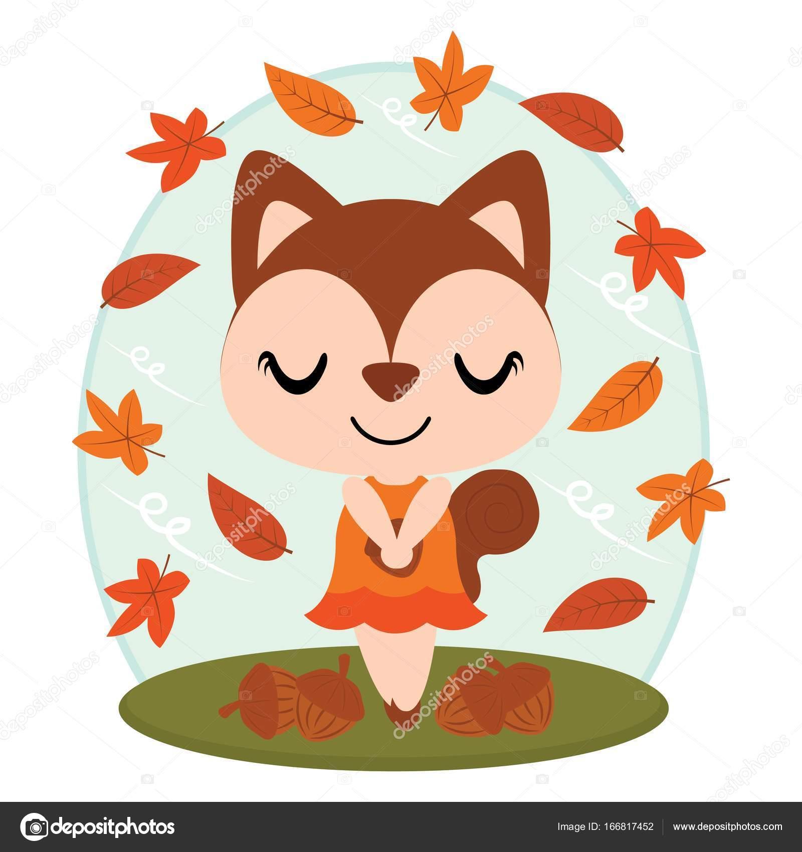 cute squirrel sleeps behind maple leaves vector cartoon