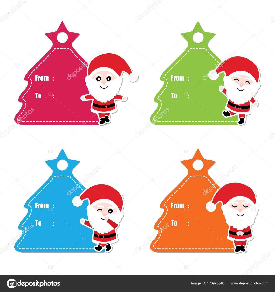 cute santa claus on xmas tree frame vector cartoon illustration for