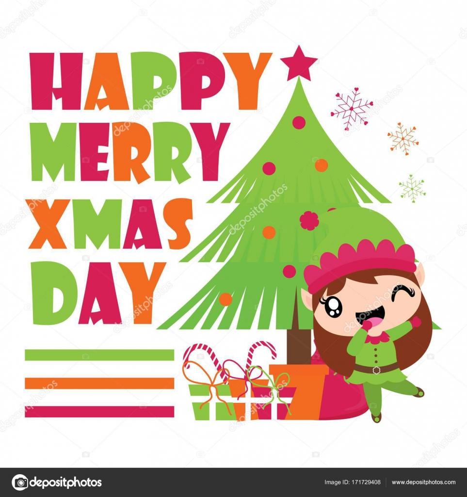 Cute Elf Girl Is Happy Besides Xmas Tree Vector Cartoon Illustration