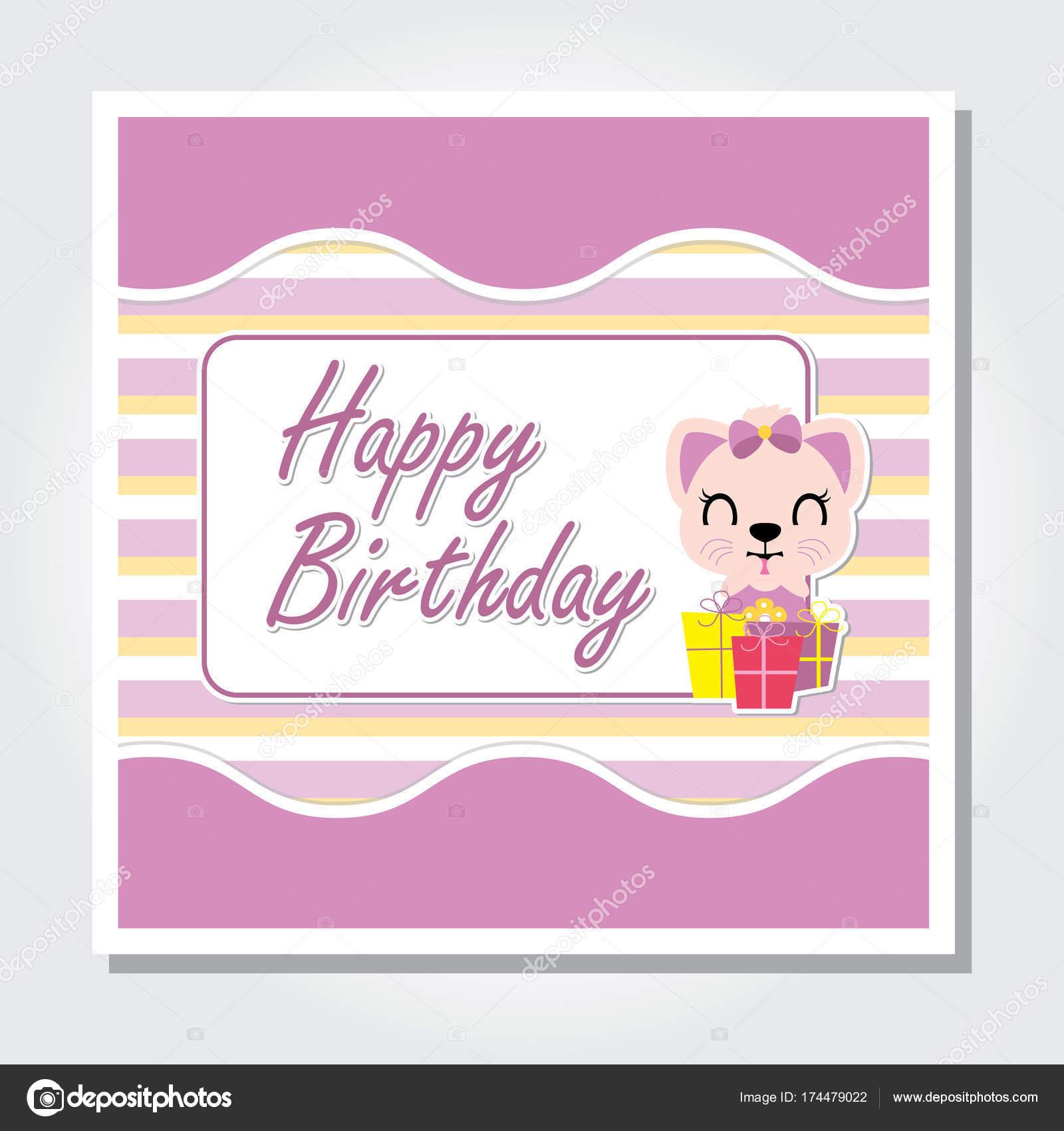 Cute Kitten Is Happy On Birthday Gift Vector Cartoon