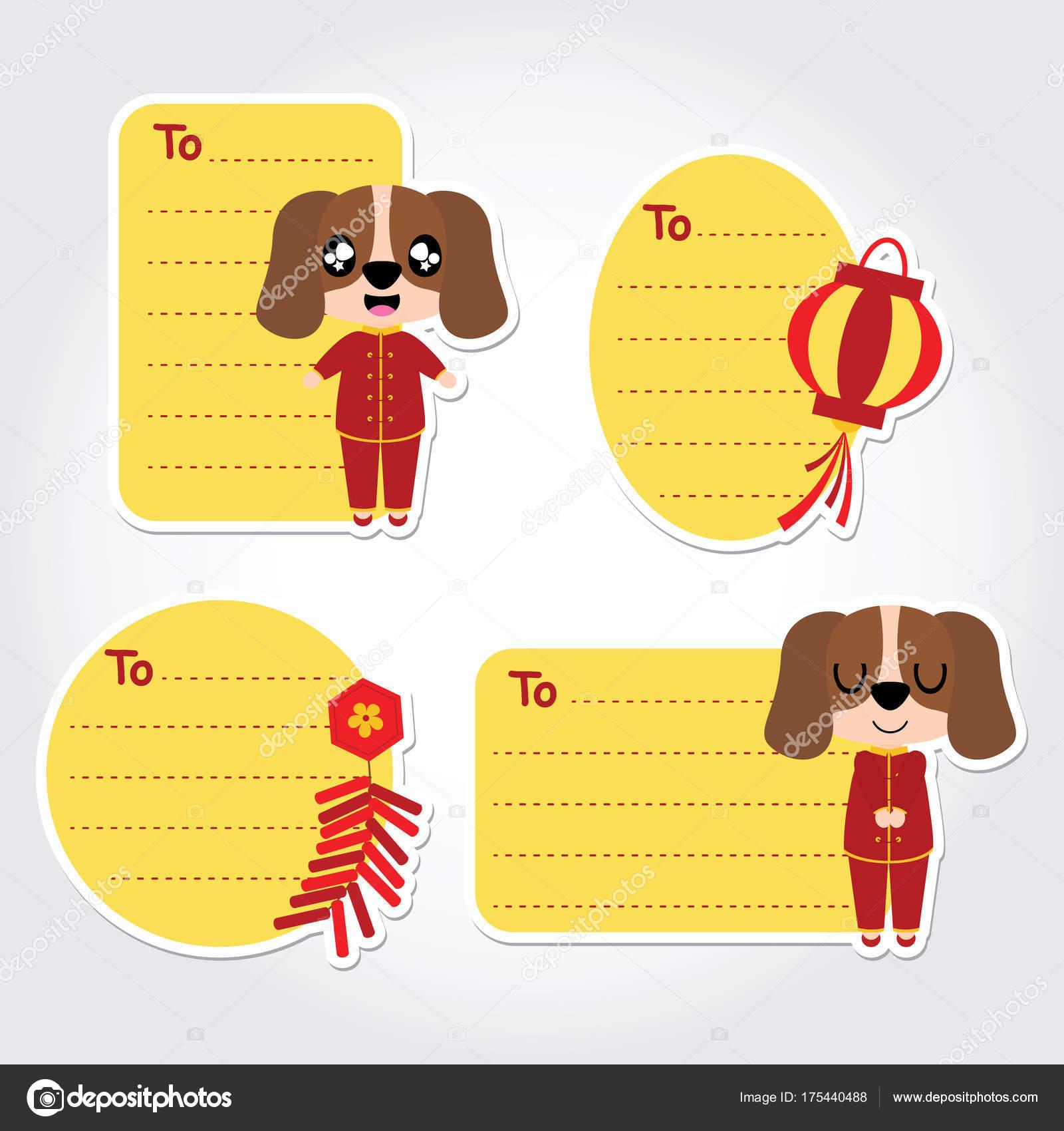 Cute Puppy Boy Vector Cartoon Illustration Chinese New Year Tag ...