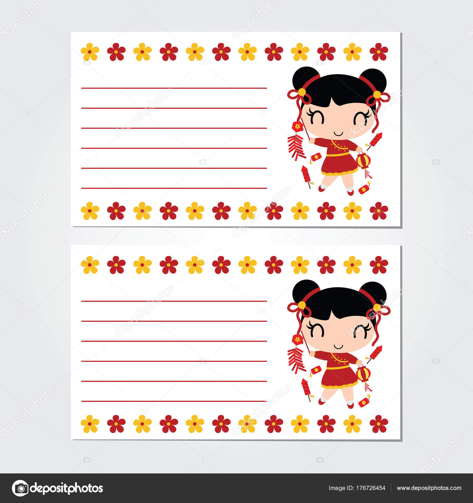 cute chinese girl plays firecrackers with flowers border vector cartoon illustration for chinese new year card design postcard and wallpaper vector by