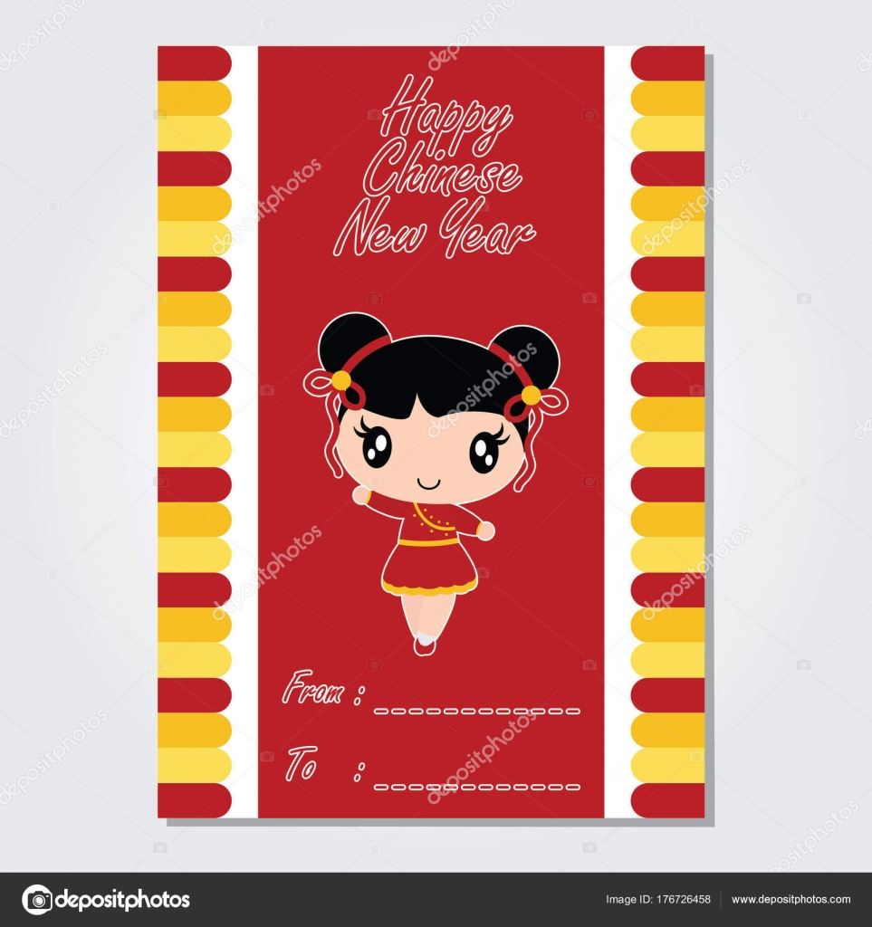 Cute Chinese Girl On Red Background Vector Cartoon Illustration For New Year Card Design Postcard And Wallpaper By Mommy05