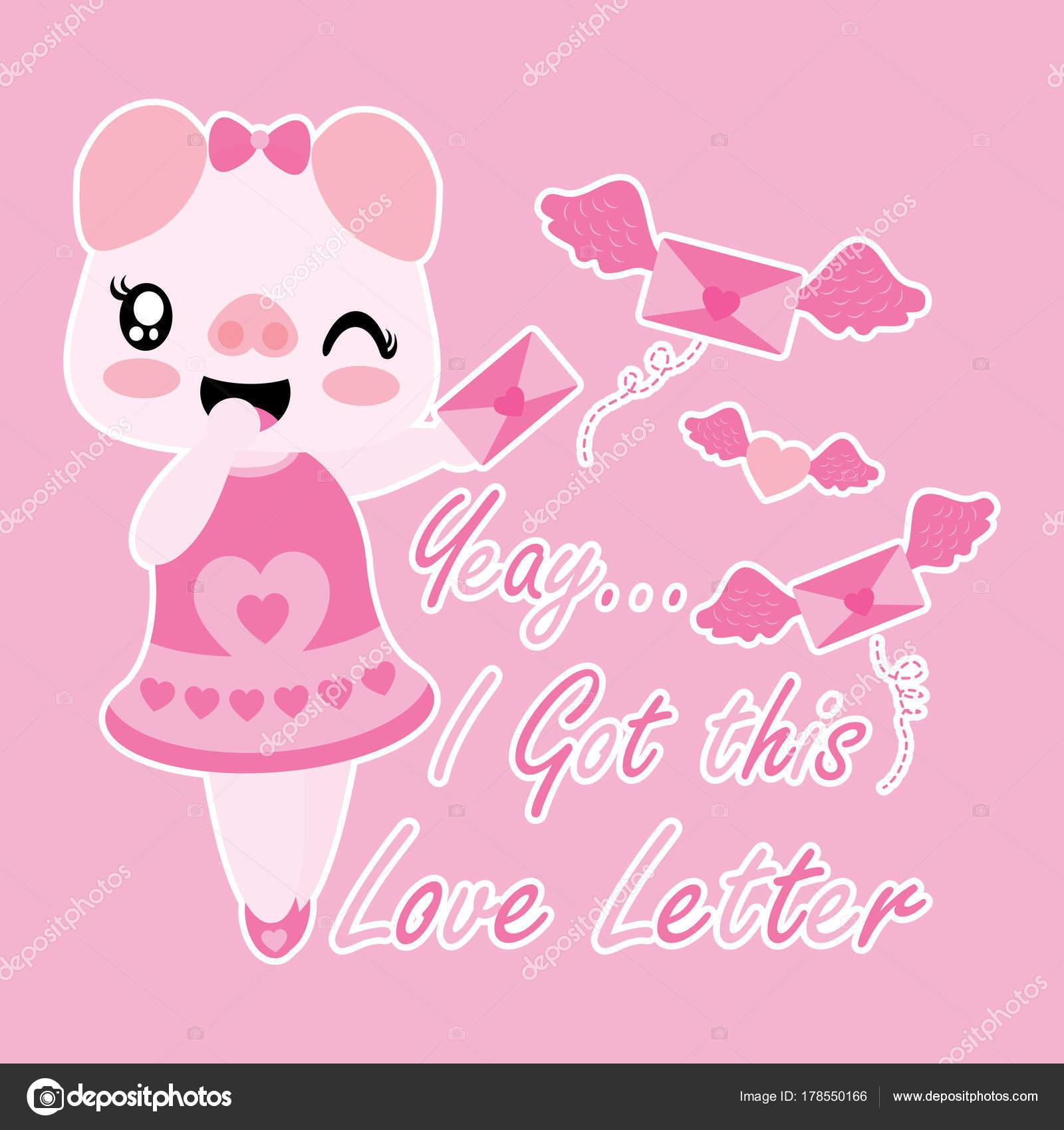 かわいいブタの翼を持つ愛の手紙幸せなバレンタイン カードのデザイン
