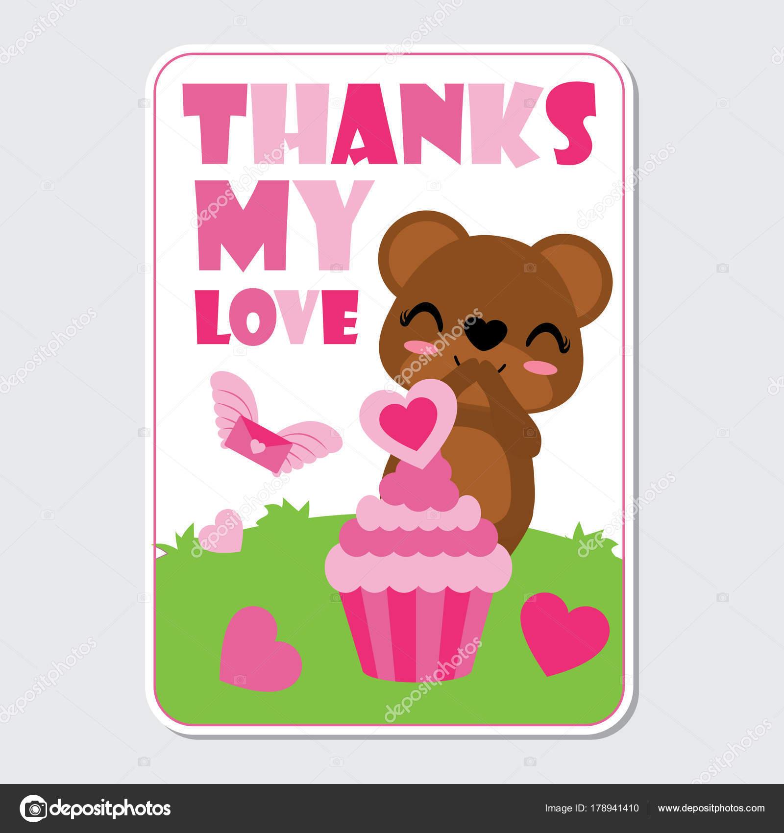 Niedliche Baren Ist Glucklich Erhalten Rosa Kuchen Liebe Auf Die