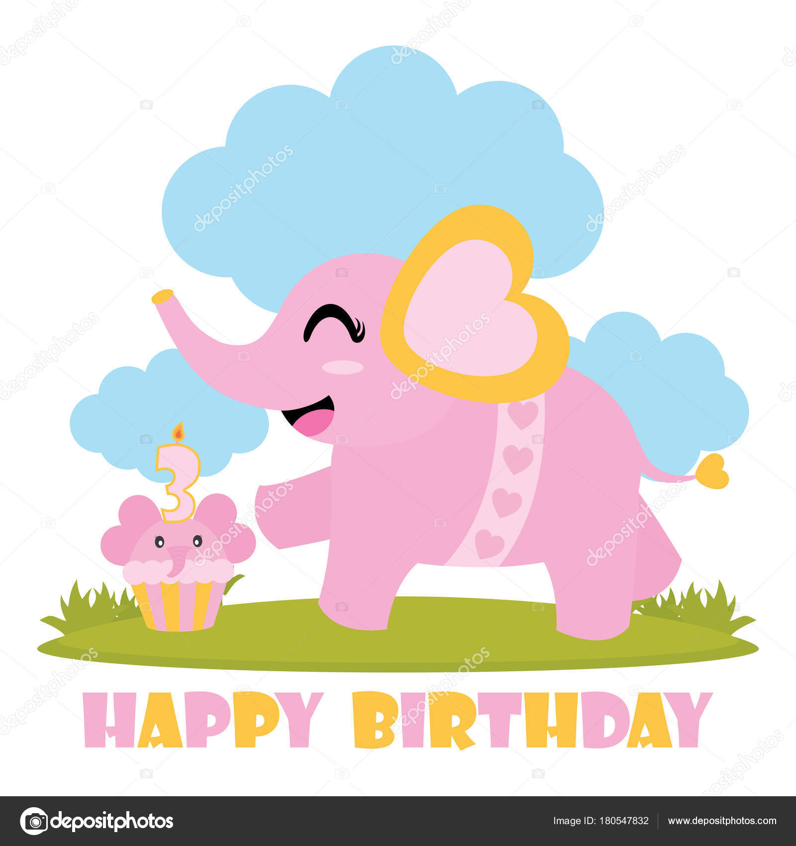 Cute Baby Elephant Her Birthday Cake Vector Cartoon Illustration