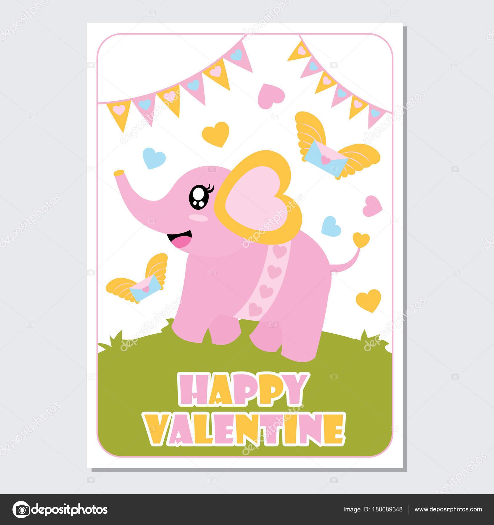 愛の手紙とカラフルな旗布かわいい赤ちゃん象ベクトル幸せなバレンタイン
