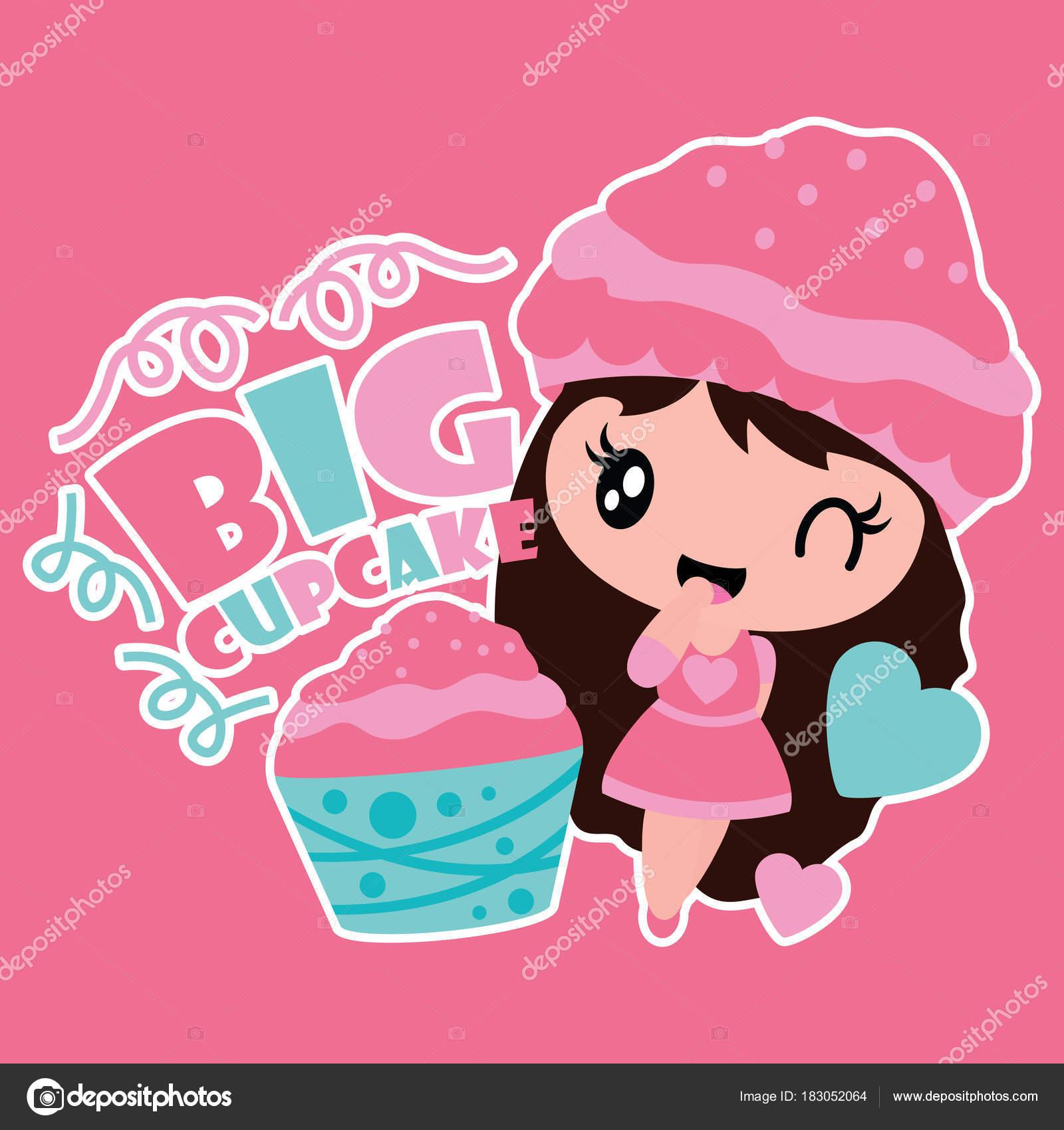 かわいい女の子と大きなカップケーキ ベクトル背景デザインの子供 シャツ