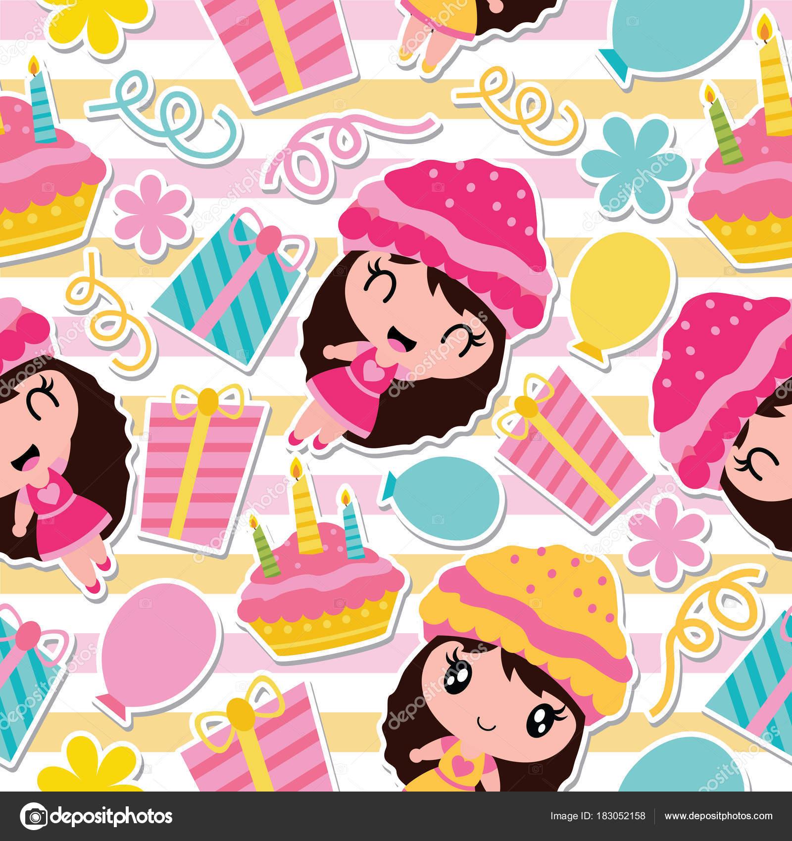 かわいい女の子 バースデー ケーキ ギフト包装紙 子供の布の服 壁紙の