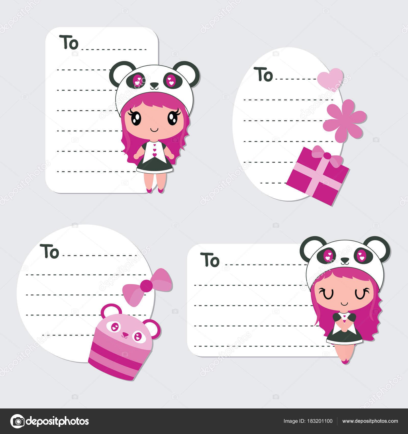 かわいいパンダの女の子 ケーキ ギフト ベクトル漫画イラスト
