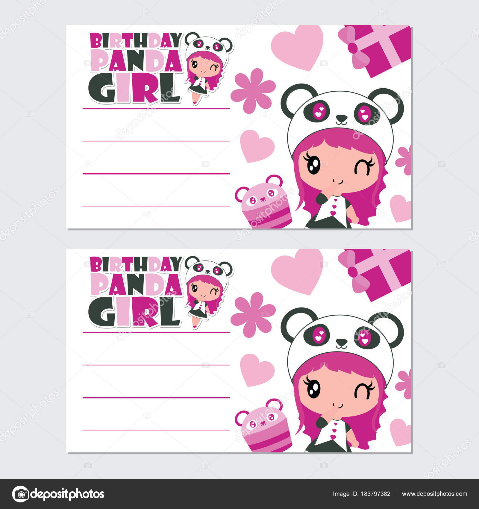 lindo panda chica magdalena vector ilustración dibujos animados para