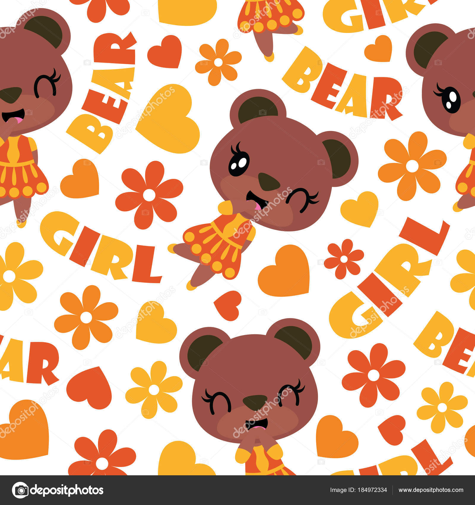 Seamless pattern of cute bear, flower and heart vector cartoon illustration for kid wrapping paper, kid fabric clothes, and wallpaper — Vector by ...