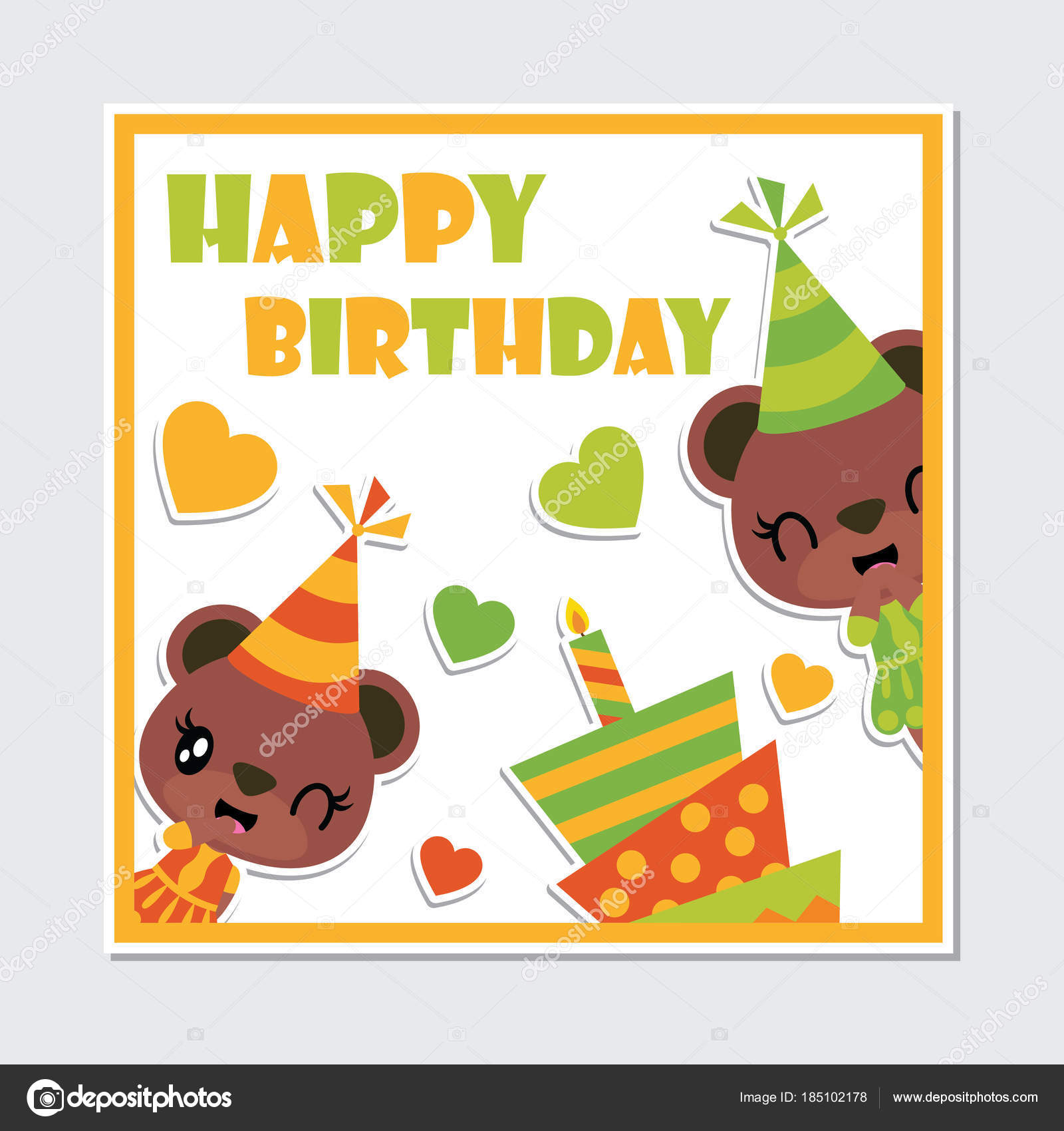 Cute Bear Girl Birthday Cake Frame Vector Cartoon Illustration Happy ...