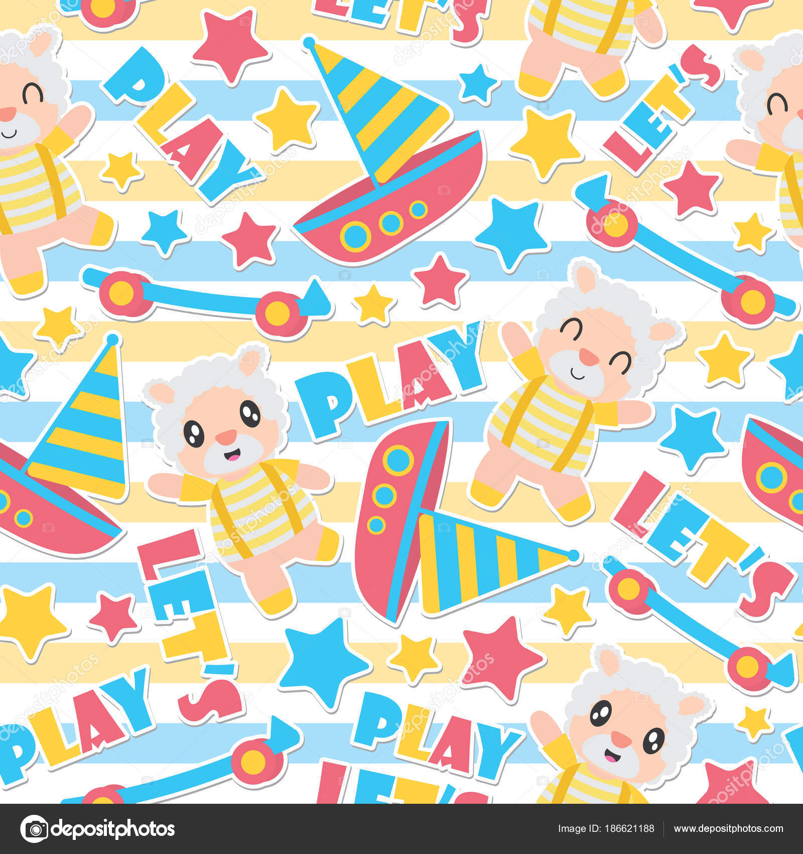 Seamless Pattern Of Sheep Boy And Toys On Striped Background Vector Cartoon Illustration For Kid Wrapping Paper Fabric Clothes Wallpaper