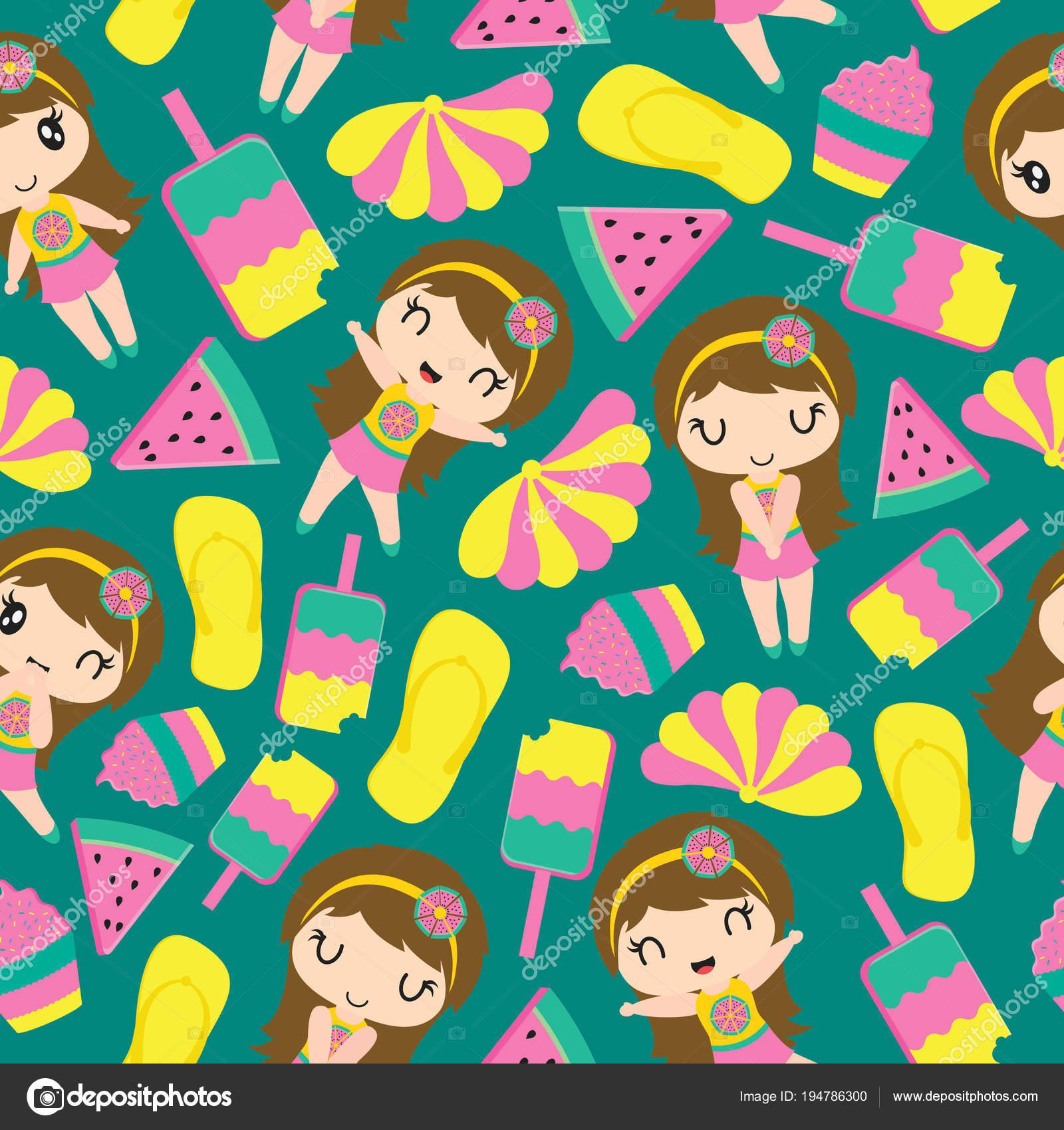 かわいい女の子と夏要素ベクトル漫画壁紙 子供の布の服 子供の包装紙の