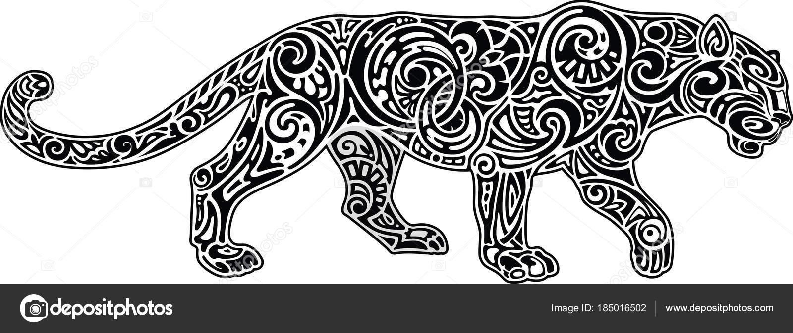 Pantera, negra y blanca imagen — Vector de stock © Kubera #185016502