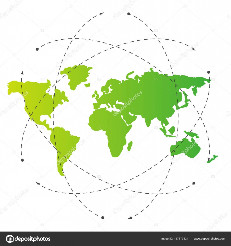 Green world map and blank orbit lines illustration template green world map and blank orbit lines illustration template for citybanner website design cover infographics editable eps10 vector transparent gumiabroncs Images