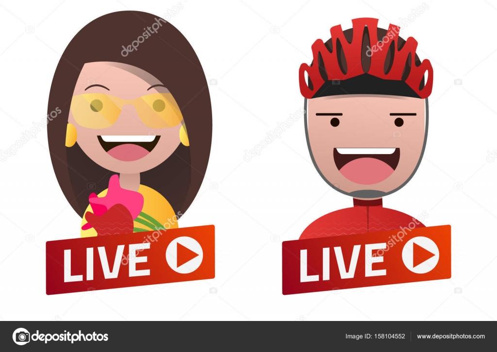 Cartel de Live Stream degradado rojo con avatares actriz y ciclista ...