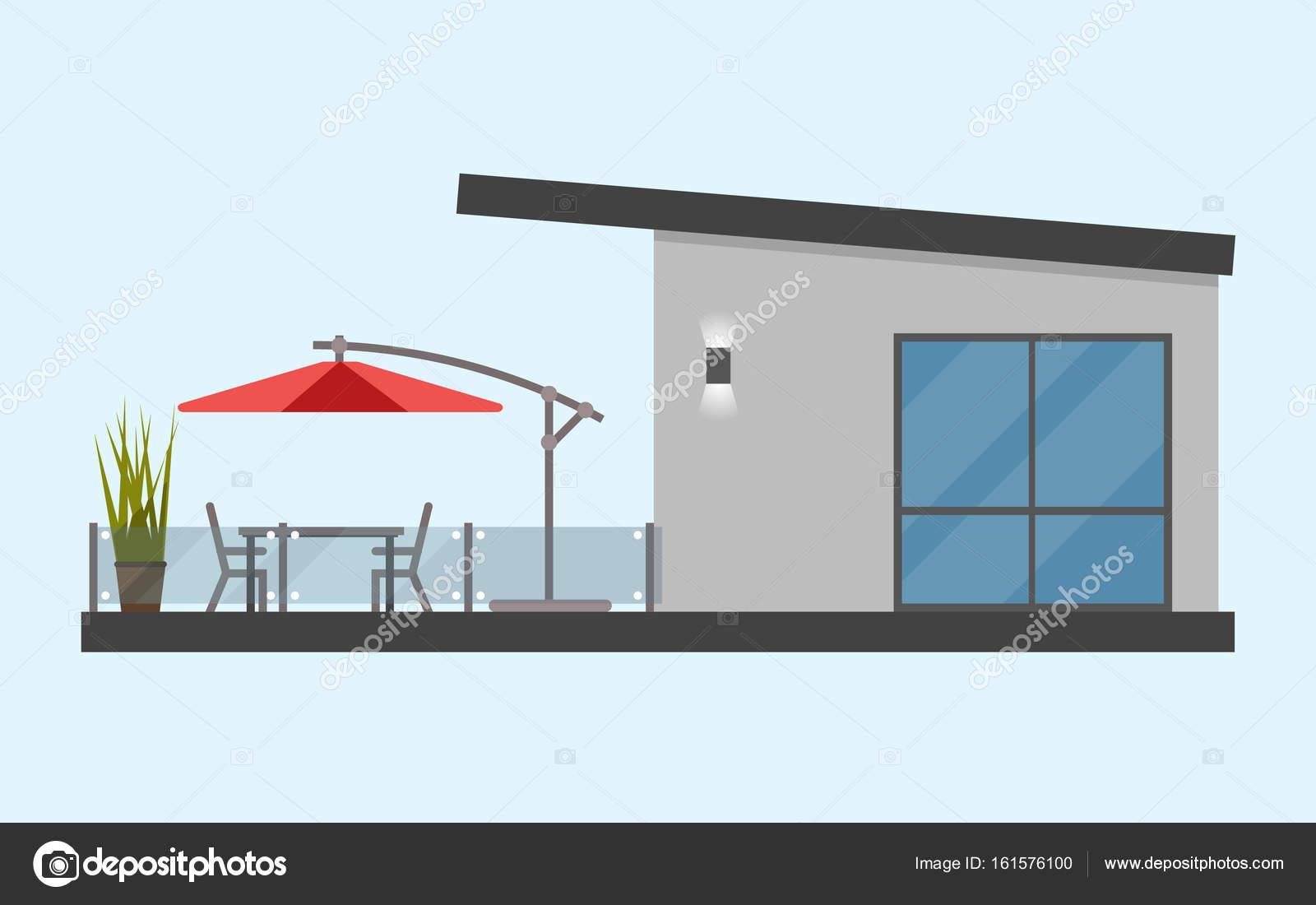 Casa De Una Planta Con Una Terraza Y Una Mesa Y Sillas Y Un