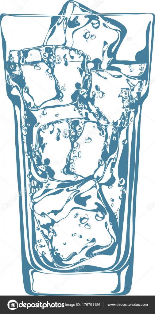Vector Ilration Alcohol Cocktail, Glass Ice Cubes Vector