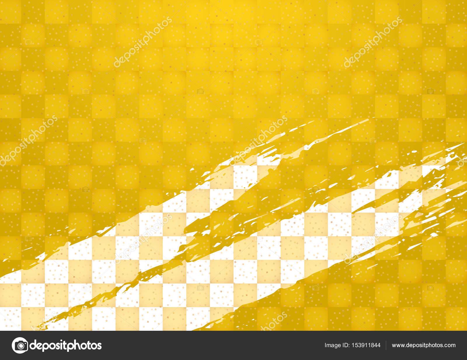 金パターンとブラシのパターン。和風背景素材 — ストックベクター