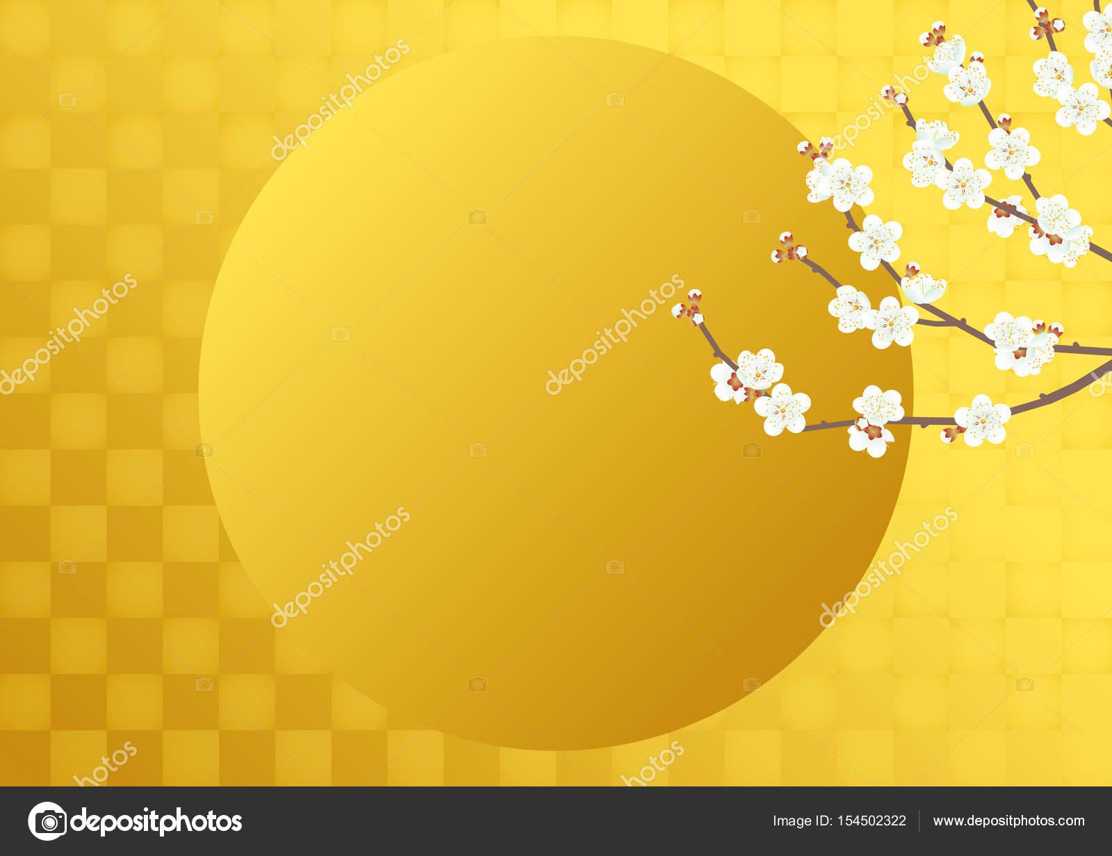 白梅とゴールド箔します。和風背景素材 — ストックベクター © alphabetmn