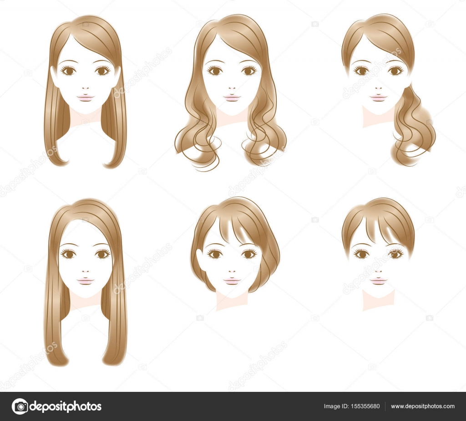 Frisur Lange Haare Kurze Haare Stockvektor Alphabetmn 155355680