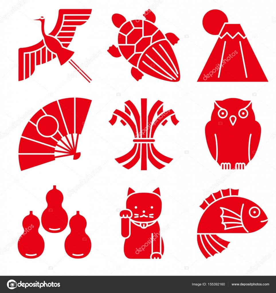 Good Luck Charms Japanese Style Stock Vector Alphabetmn 155392160