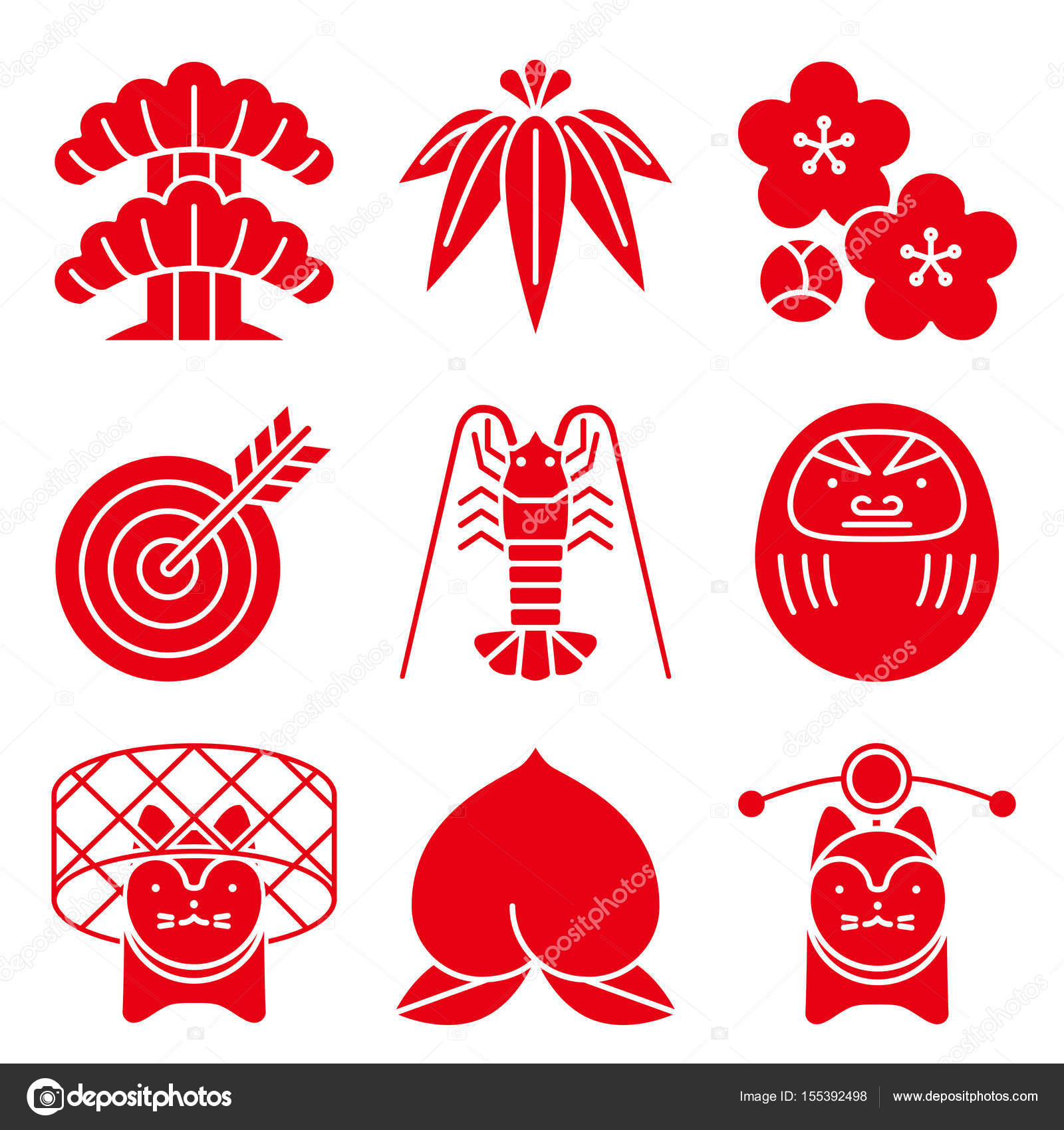 Good luck charms japanese style stock vector alphabetmn good luck charms japanese style vector by alphabetmn biocorpaavc Image collections
