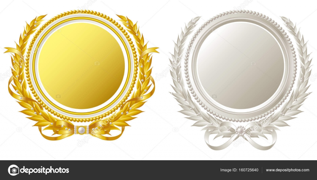 Oval Frame Of Gold And Silver Stock Vector