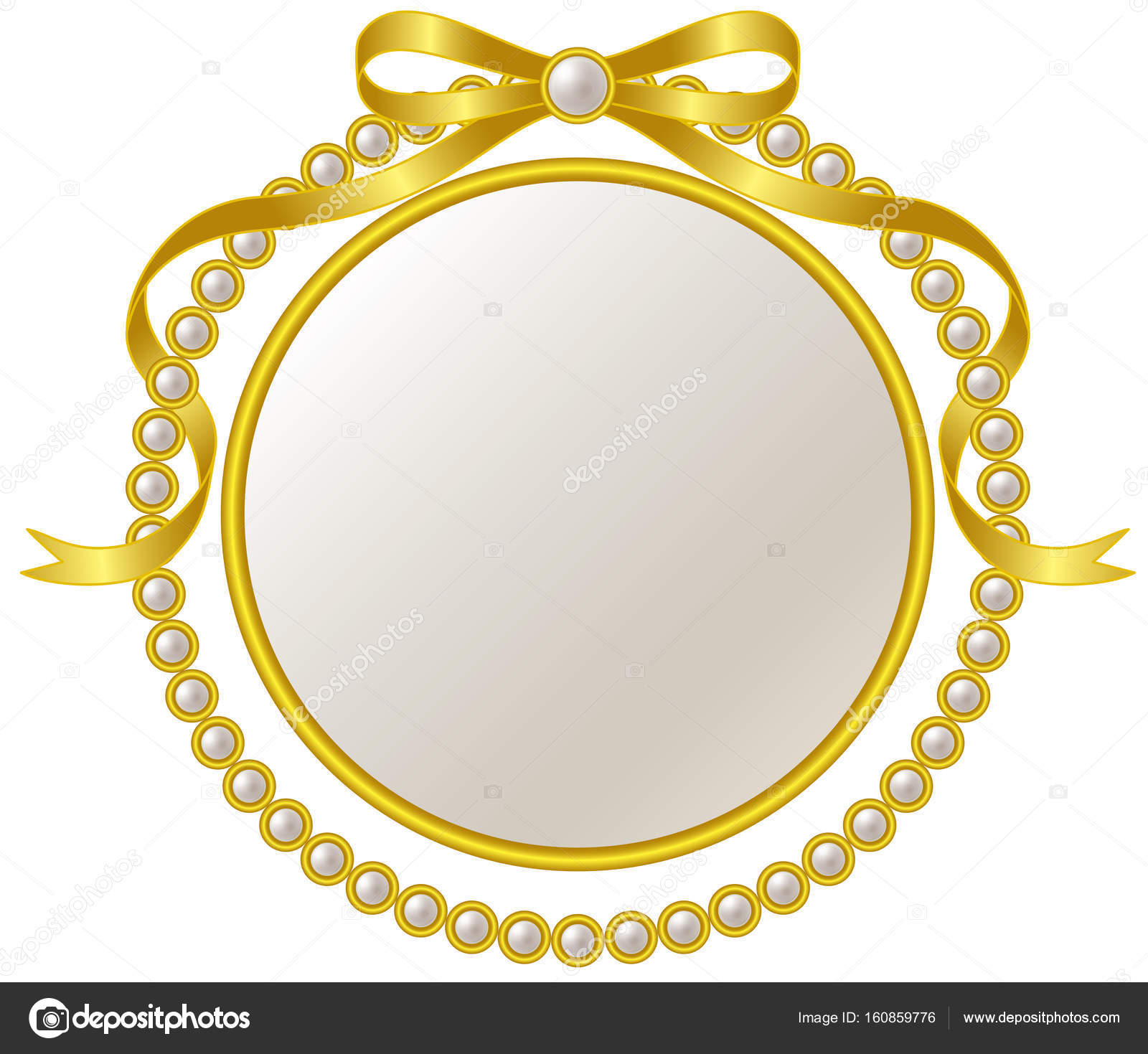 Rahmen und Perle Farbband Gold — Stockvektor © alphabetMN #160859776