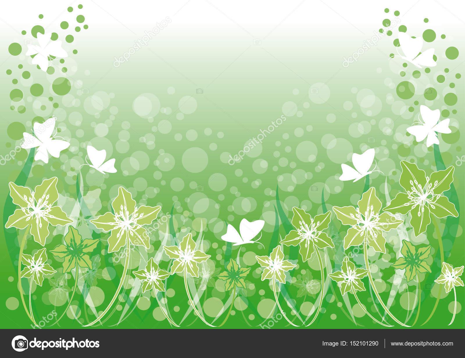Sfondo Verde Con Fiori E Farfalle Vettoriali Stock Daniyar79