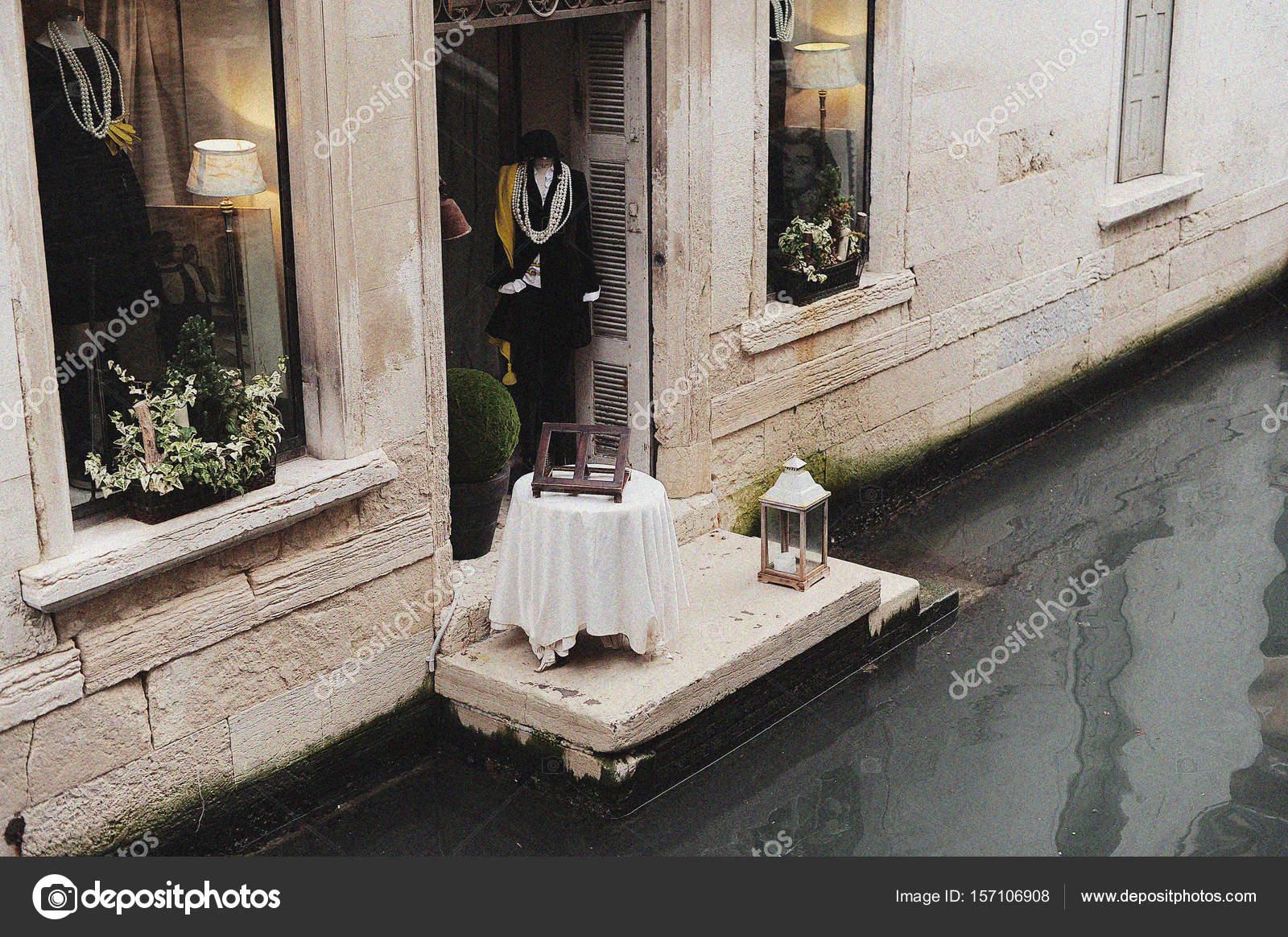Boutique Backyard Door Canal Venice Italy Stock Editorial