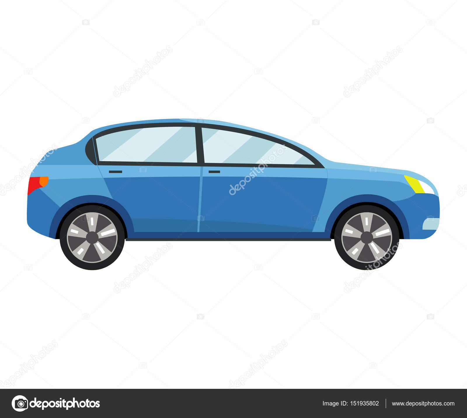 Blaues Auto Vektor Vorlage auf weißem Hintergrund — Stockvektor ...