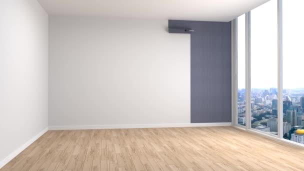 Budování moderního obývacího pokoje. 3D obrázek