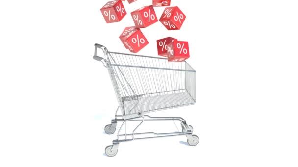 Cart sales and discont. 3d illustration