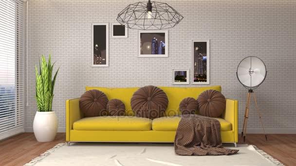 interiér s pohovkou. 3D obrázek