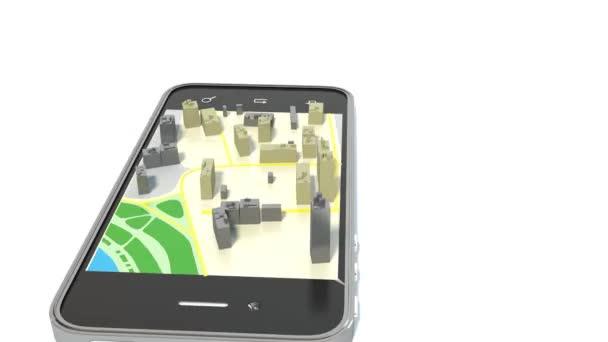Smartphone s bezdrátovým navigátor mapu. Satelitní GPS navigace, cestování, cestovní ruch