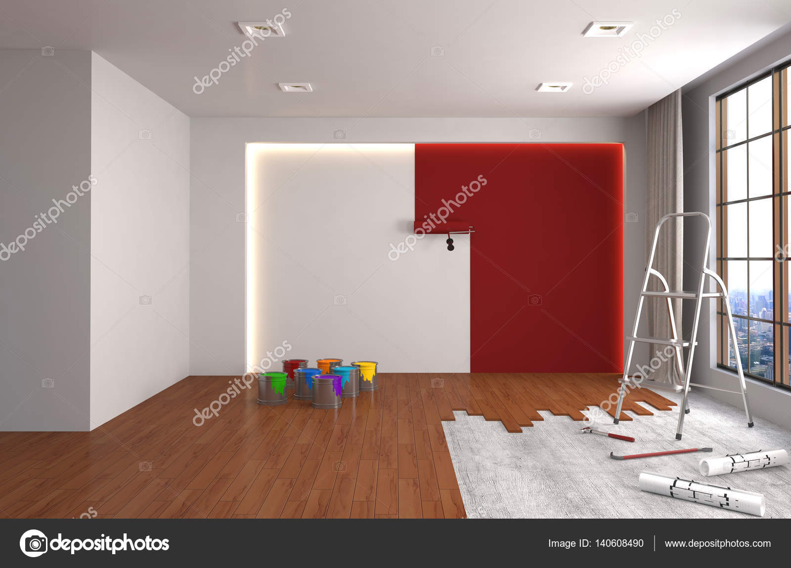 Reparação E Pintura Das Paredes Do Quarto Ilustração 3d Stock