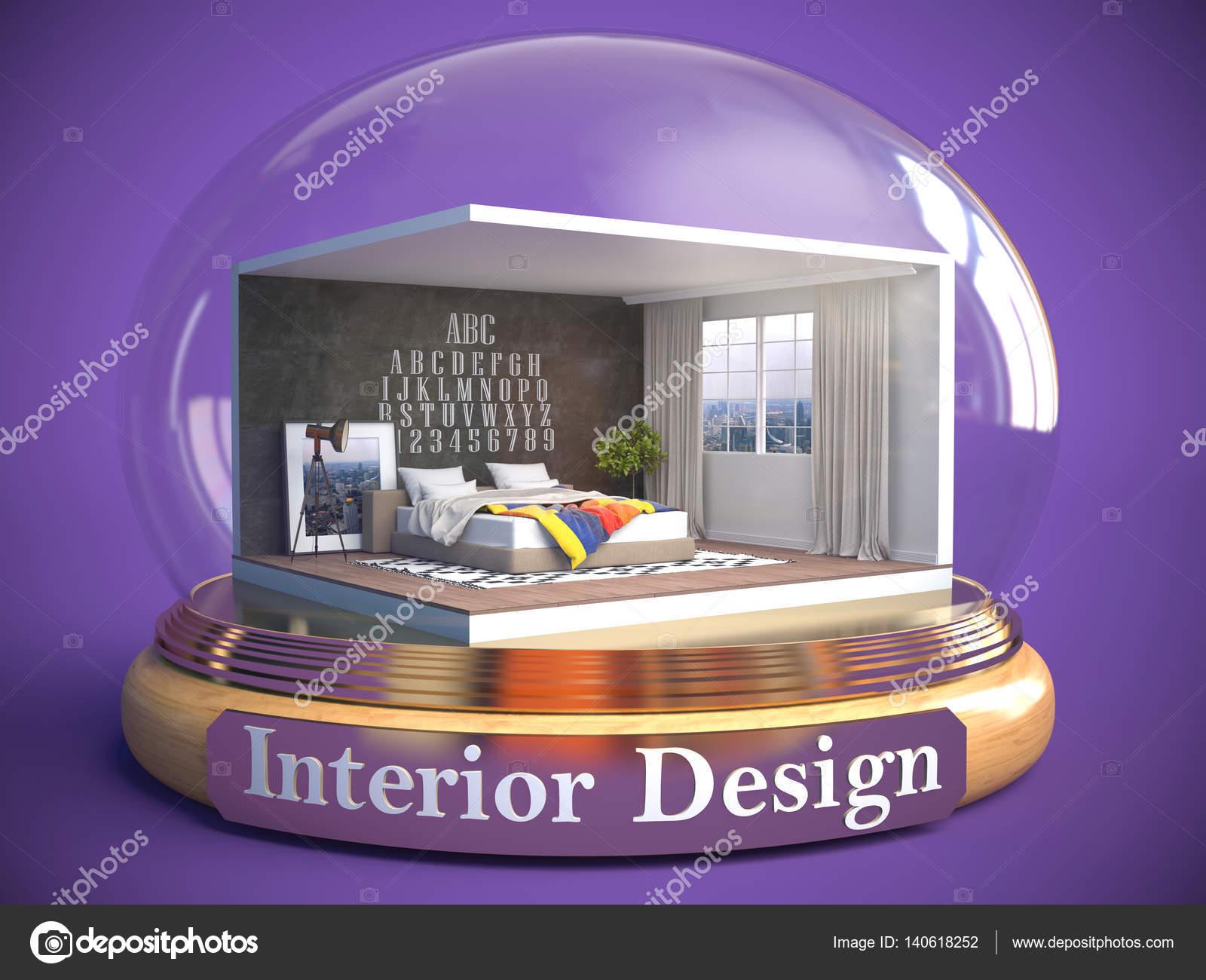 ガラス玉で部屋のインテリア3 D イラストレーション ストック写真