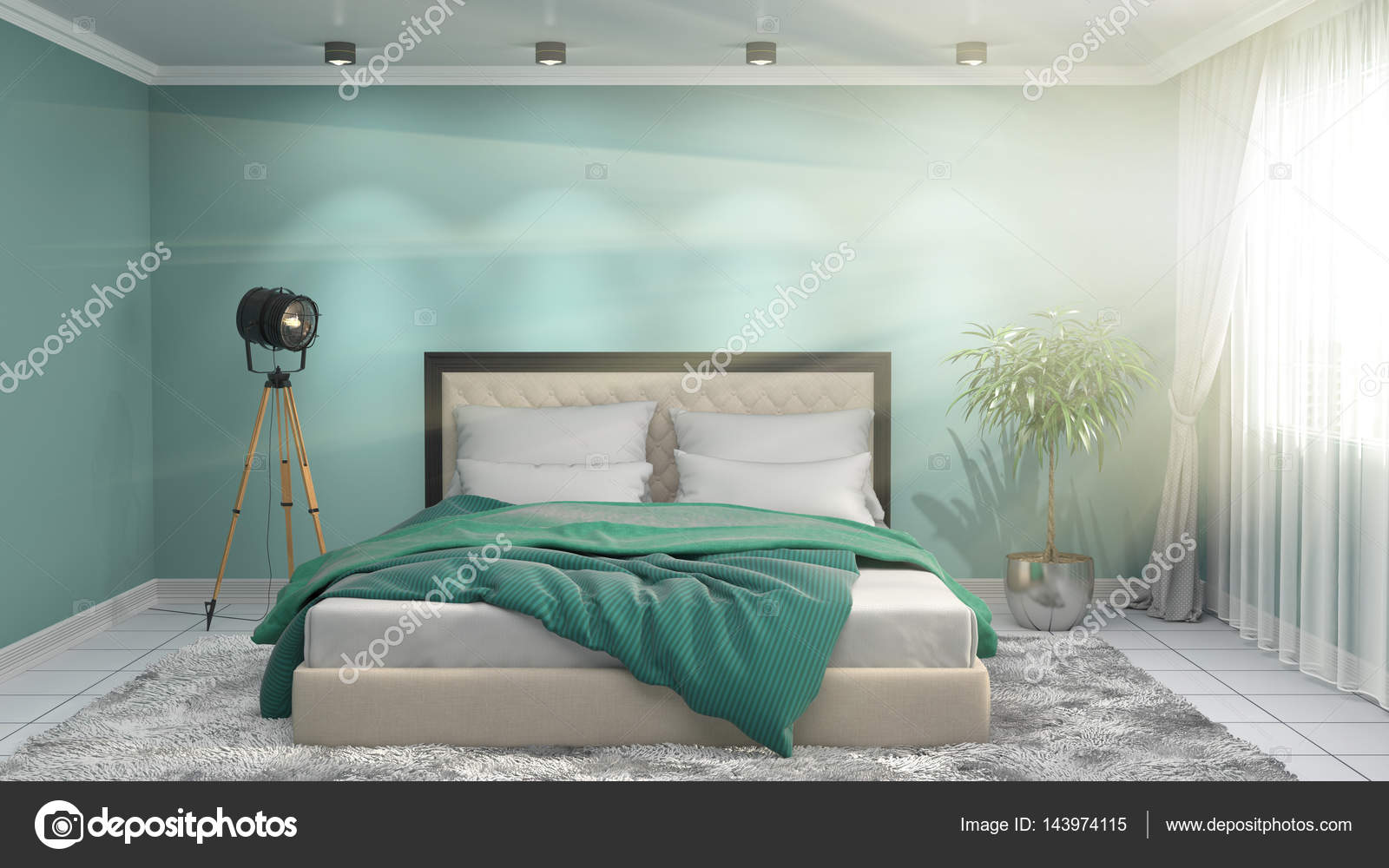 Int rieur de chambre coucher illustration 3d photo for Interieur de chambre a coucher